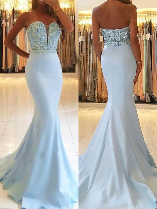 Light Sky Blue Satin Sweetheart Trumpet/Mermaid Sweep/Brush Train Dresses