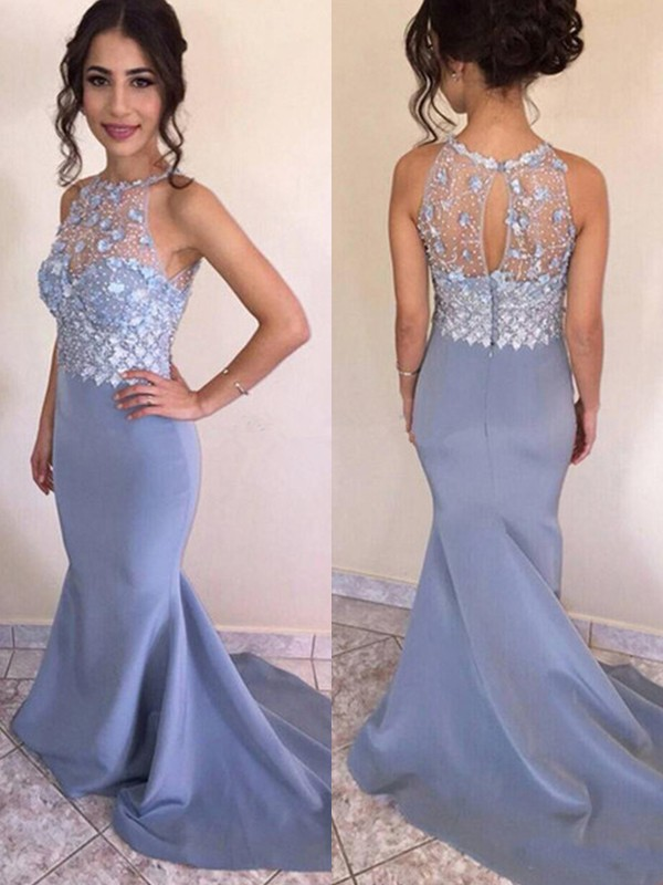 Light Sky blue Satin Jewel Trumpet/Mermaid Sweep/Brush Train Dresses