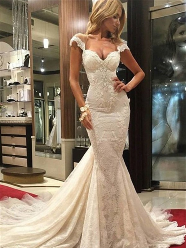 White Lace V-neck Trumpet/Mermaid Chapel Train Wedding Dresses