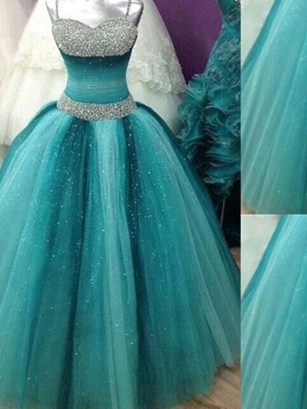 Blue Tulle Spaghetti Straps Ball Gown Floor-Length Prom Dresses