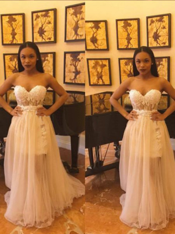 White Chiffon Sweetheart Trumpet/Mermaid Floor-Length Prom Dresses