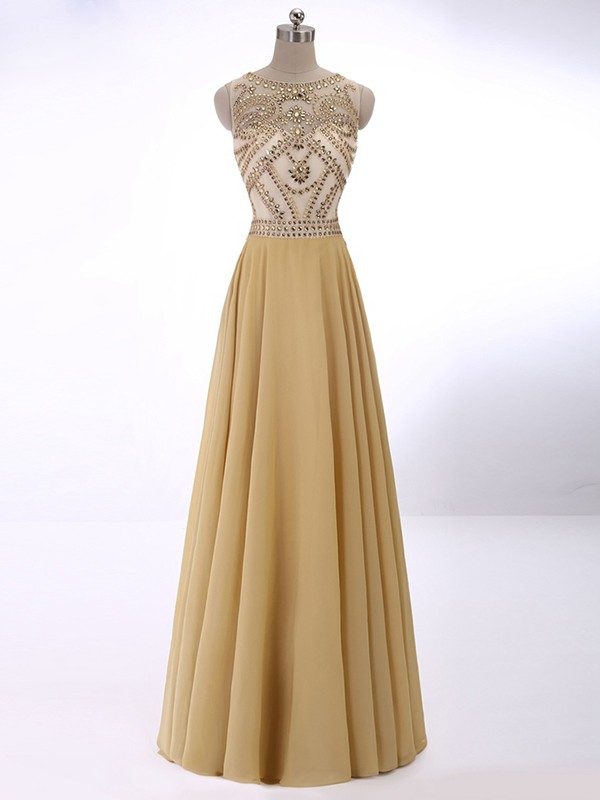 Gold Chiffon Scoop A-Line/Princess Floor-Length Dresses