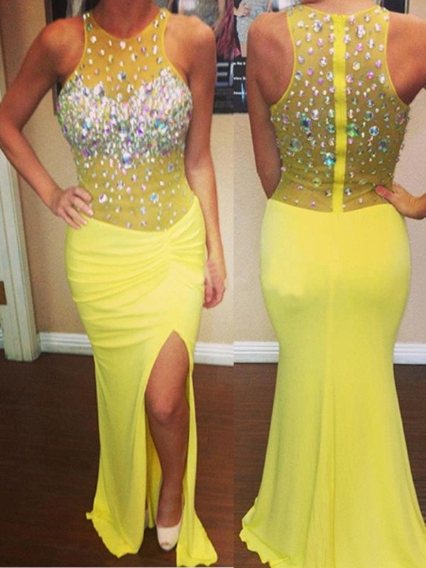 Yellow Chiffon Scoop Trumpet/Mermaid Sweep/Brush Train Dresses