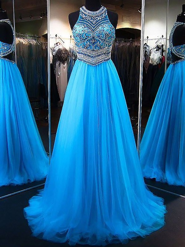 Blue Tulle Jewel A-Line/Princess Sweep/Brush Train Dresses