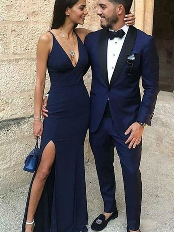 Dark Navy Spandex Straps Sheath/Column Floor-Length Dresses