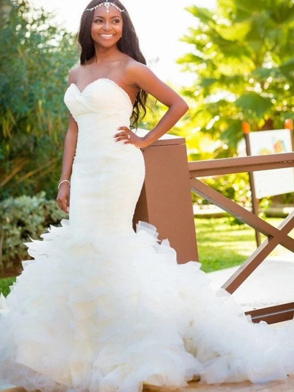 White Organza Sweetheart Trumpet/Mermaid Court Train Wedding Dresses