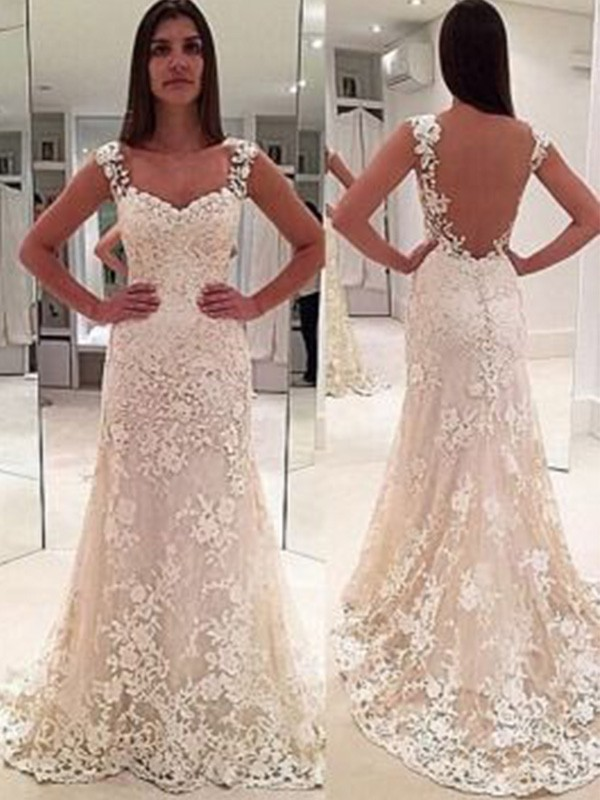 Ivory Lace Sweetheart Sheath/Column Court Train Wedding Dresses