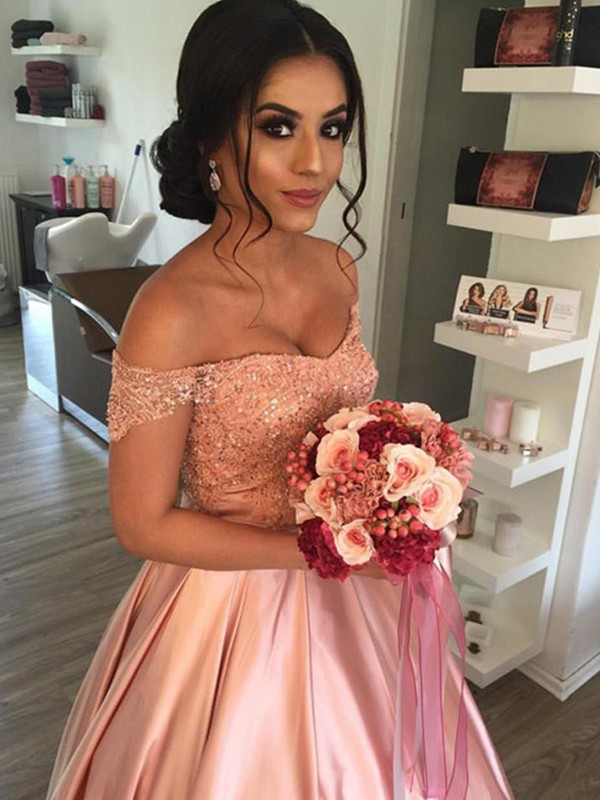 Pink Satin Off-the-Shoulder Ball Gown Cathedral Train Wedding Dresses