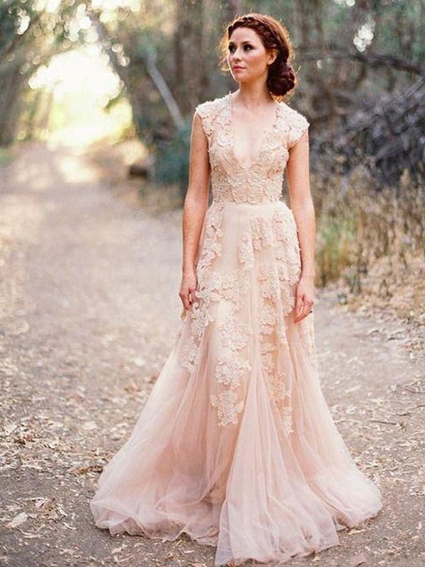 Pink Tulle V-neck A-Line/Princess Sweep/Brush Train Wedding Dresses