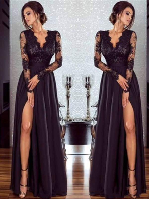 Black Chiffon V-neck A-Line/Princess Floor-Length Dresses