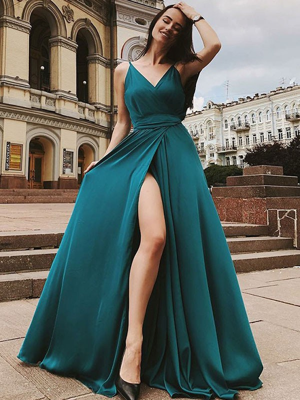 Dark Green Satin Chiffon Straps A-Line/Princess Sweep/Brush Train Dresses
