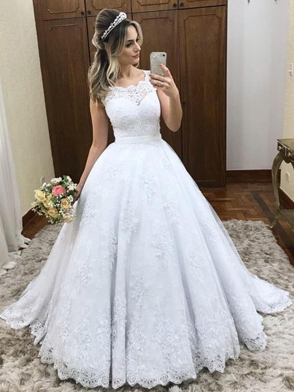 White Satin Scoop Ball Gown Sweep/Brush Train Wedding Dresses