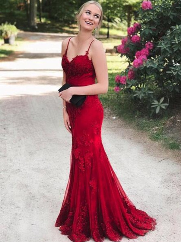 Burgundy Lace Spaghetti Straps Trumpet/Mermaid Sweep/Brush Train Dresses