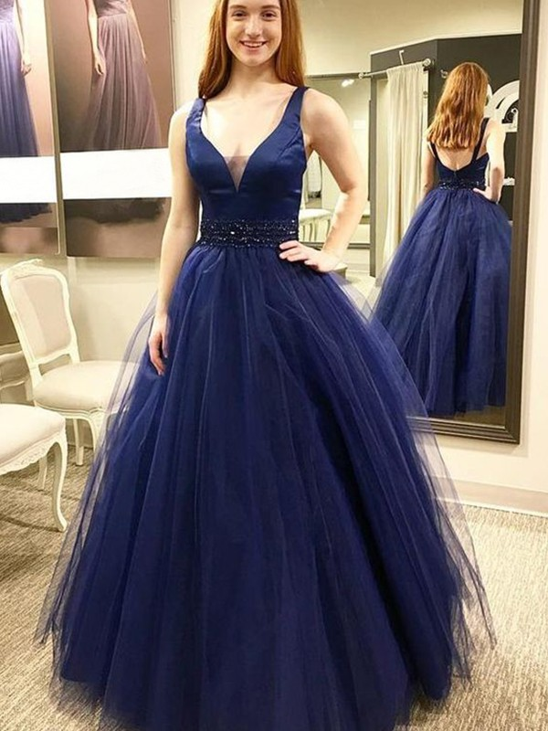 Dark Navy Tulle V-neck Ball Gown Floor-Length Dresses