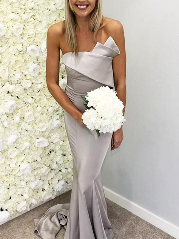 Grey Satin Strapless Trumpet/Mermaid Sweep/Brush Train Bridesmaid Dresses
