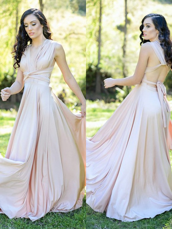 Pink Silk like Satin V-neck A-Line/Princess Floor-Length Bridesmaid Dresses