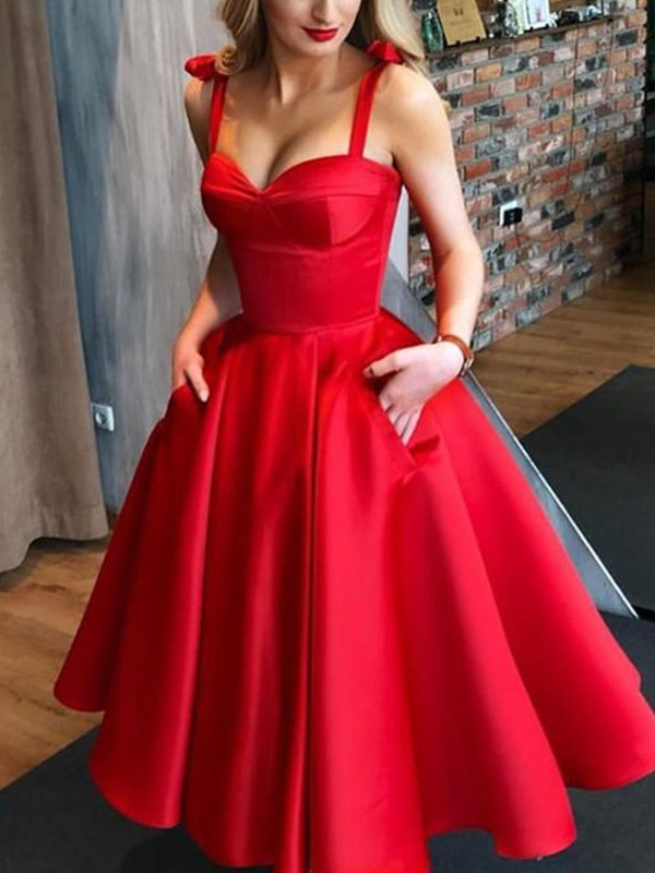 Red Satin Straps A-Line/Princess Tea-Length Dresses