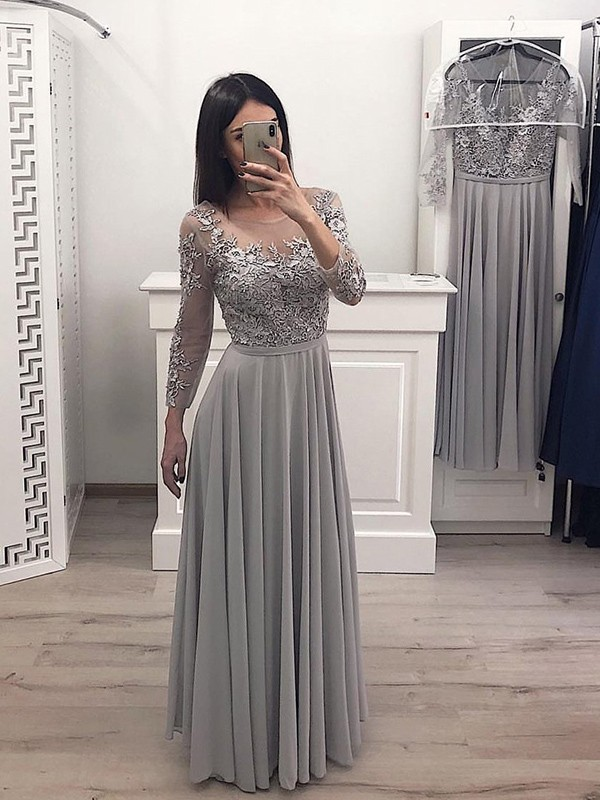 Grey Chiffon Scoop A-Line/Princess Floor-Length Dresses
