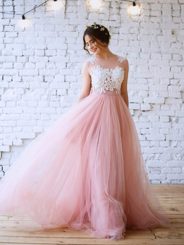 Pink Tulle Bateau A-Line/Princess Sweep/Brush Train Dresses