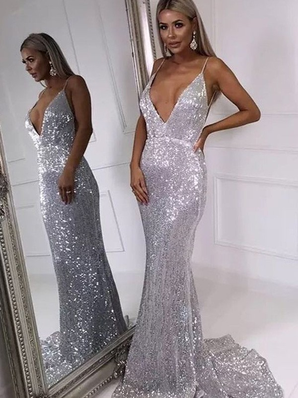 Silver Sequins V-neck Trumpet/Mermaid Sweep/Brush Train Dresses