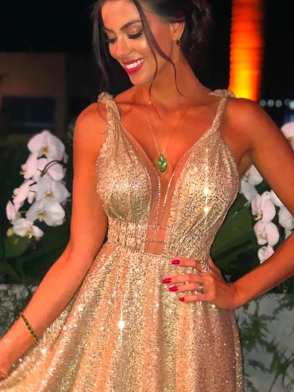 Champagne Sequins Straps A-Line/Princess Sweep/Brush Train Dresses