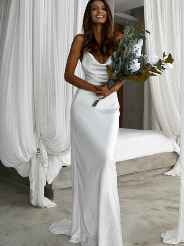 White Silk like Satin Spaghetti Straps Sheath/Column Sweep/Brush Train Wedding Dresses