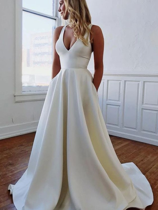 White Satin V-neck A-Line/Princess Sweep/Brush Train Wedding Dresses