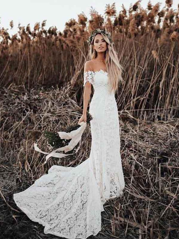 White Lace Off-the-Shoulder Trumpet/Mermaid Court Train Wedding Dresses