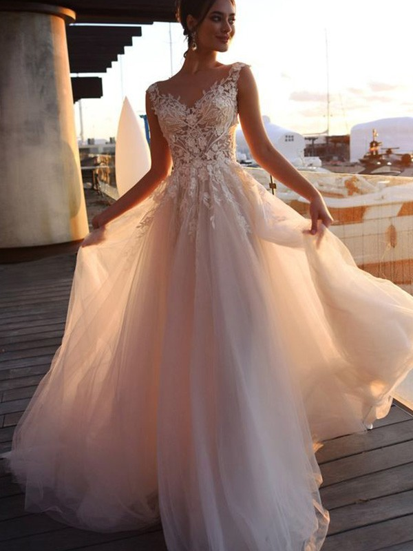 Ivory Tulle Bateau A-Line/Princess Sweep/Brush Train Wedding Dresses