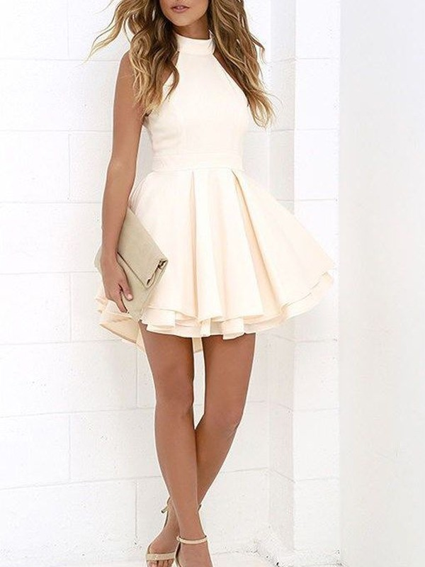 Ivory Satin Halter A-line/Princess Short/Mini Dresses