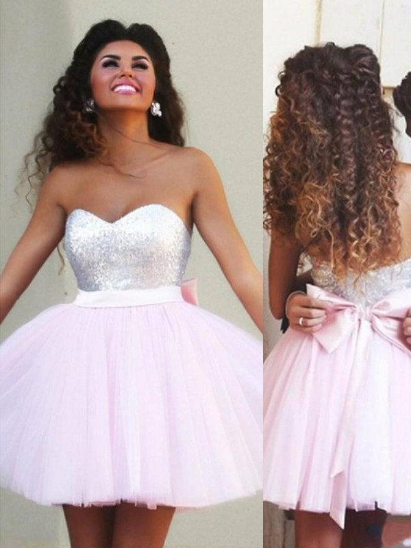 Pink Tulle Sweetheart A-line/Princess Short/Mini Dresses