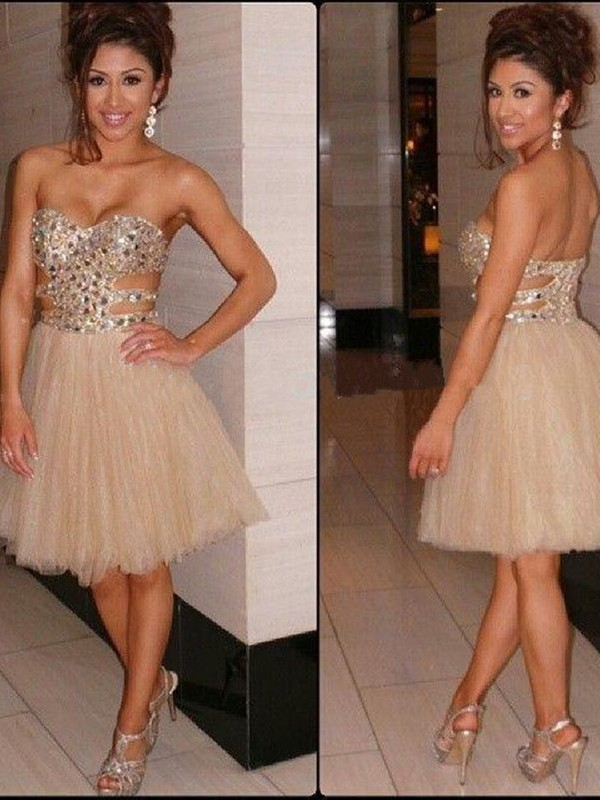 Champagne Tulle Sweetheart A-line/Princess Short/Mini Dresses