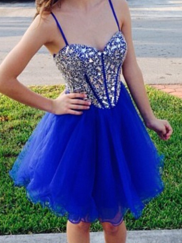 Royal Blue Tulle Sweetheart A-line/Princess Short/Mini Dresses