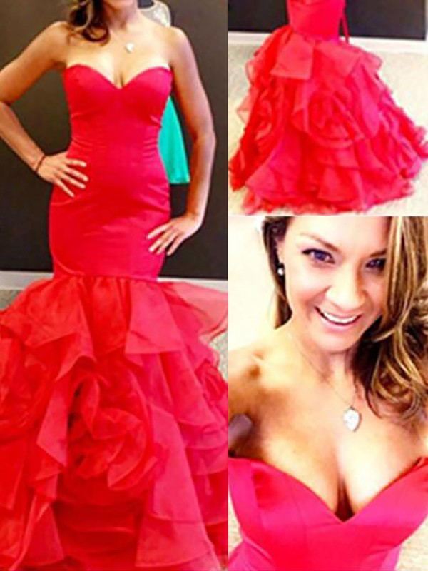 Red Organza Sweetheart Trumpet/Mermaid Floor-Length Dresses