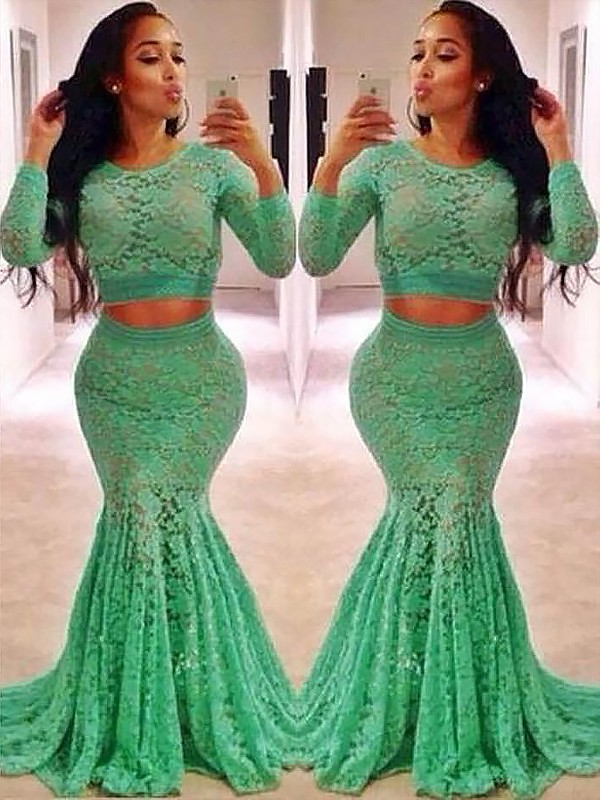 Green Lace Scoop Trumpet/Mermaid Sweep/Brush Train Dresses