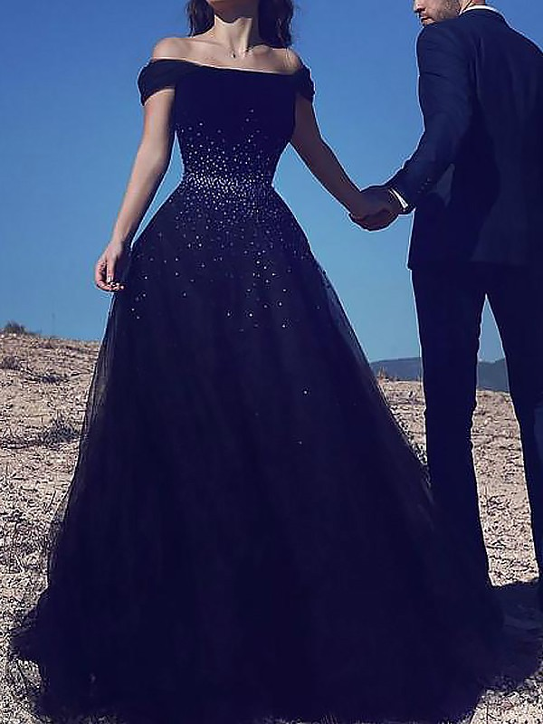Dark Navy Tulle Off-the-Shoulder Ball Gown Sweep/Brush Train Dresses