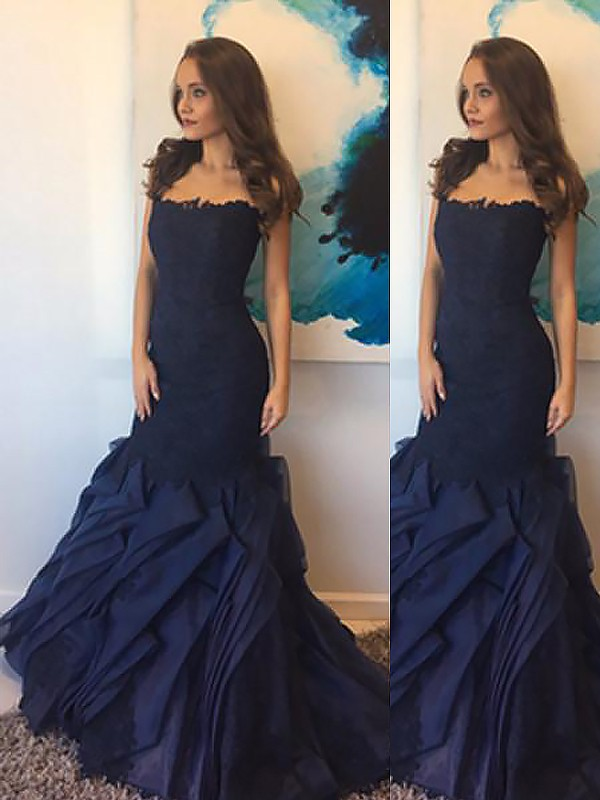 Dark Navy Taffeta Strapless Trumpet/Mermaid Floor-Length Dresses