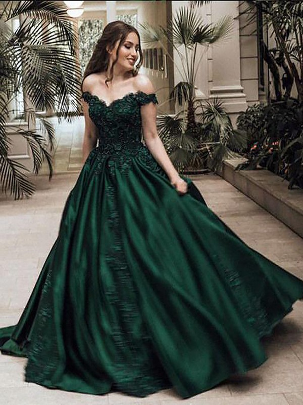 Dark Green Satin Off-the-Shoulder Ball Gown Floor-Length Dresses