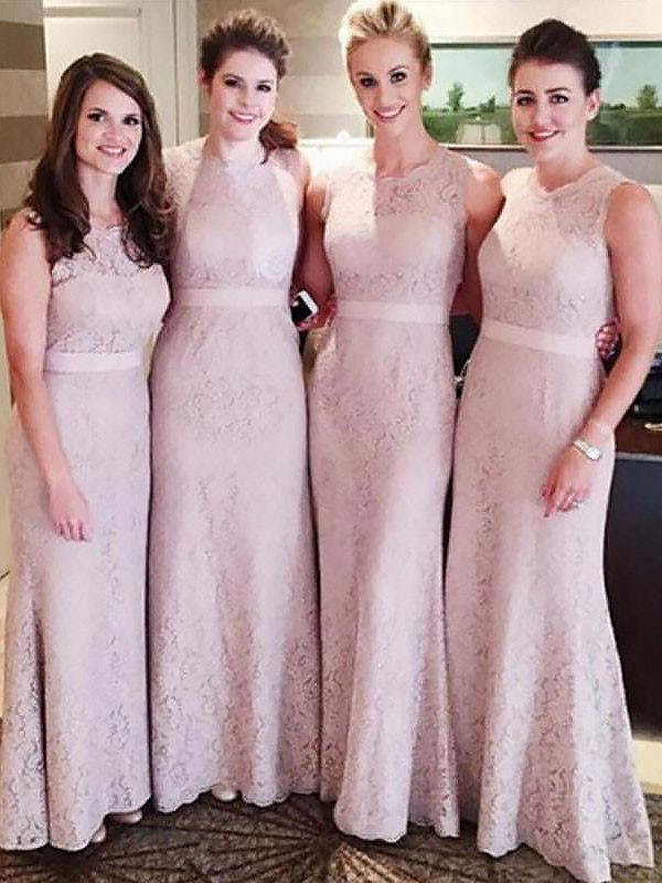 Pink Lace Scoop Sheath/Column Floor-Length Bridesmaid Dresses