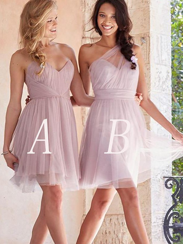 Pink Tulle A-Line/Princess Short/Mini Bridesmaid Dresses