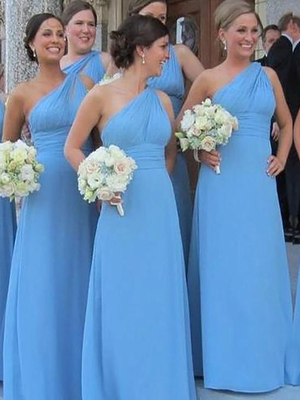 Blue Chiffon One-Shoulder Sheath/Column Floor-Length Bridesmaid Dresses
