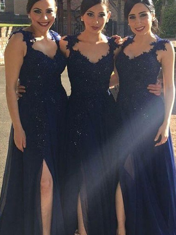 Dark Navy Chiffon Sweetheart A-Line/Princess Floor-Length Bridesmaid Dresses