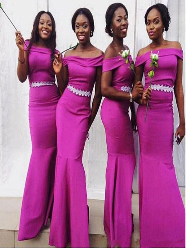 Fuchsia Satin Off-the-Shoulder Trumpet/Mermaid Floor-Length Bridesmaid Dresses