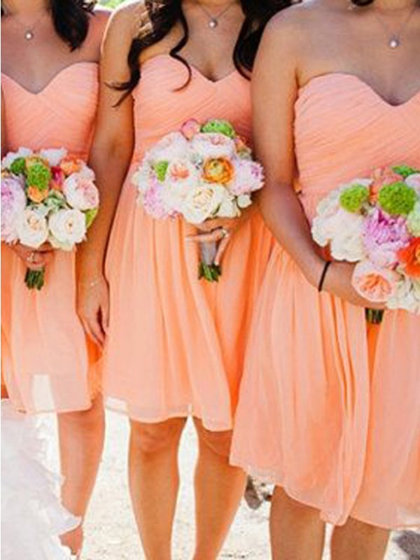 Orange Chiffon Sweetheart A-Line/Princess Short/Mini Bridesmaid Dresses