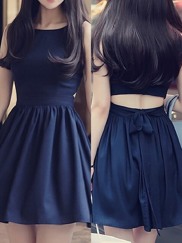 Dark Navy Chiffon Scoop A-line/Princess Short/Mini Homecoming Dresses
