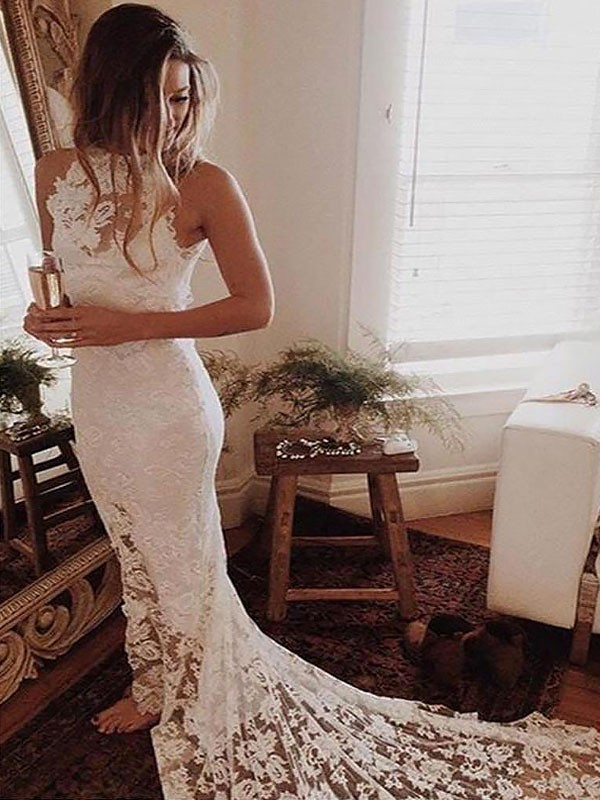 Ivory Lace Halter Trumpet/Mermaid Chapel Train Wedding Dresses