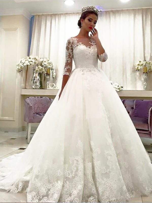 Ivory Tulle Bateau Ball Gown Court Train Wedding Dresses