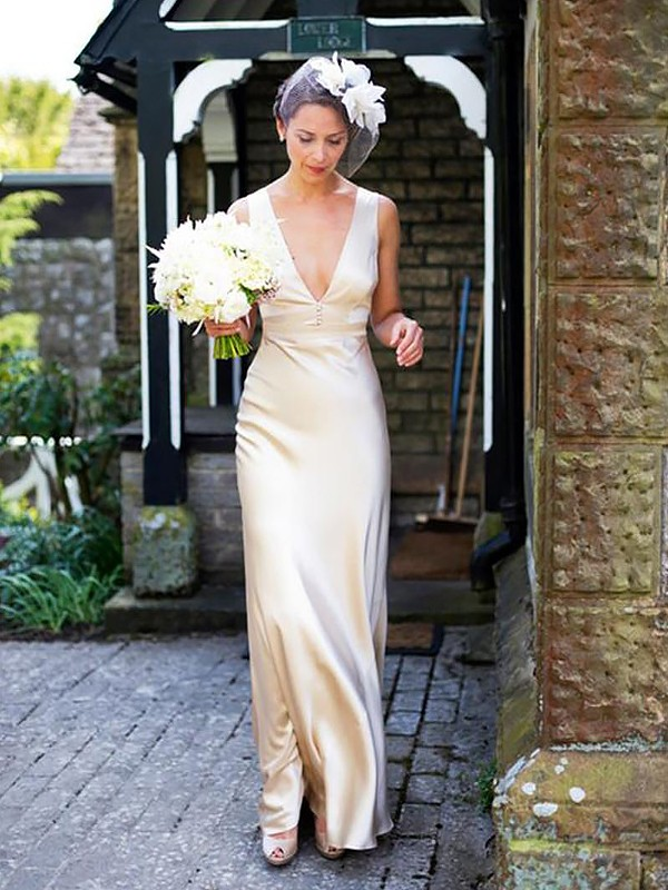Ivory Satin V-neck Sheath/Column Floor-Length Wedding Dresses