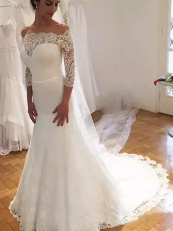 White Lace Off-the-Shoulder Trumpet/Mermaid Sweep/Brush Train Wedding Dresses