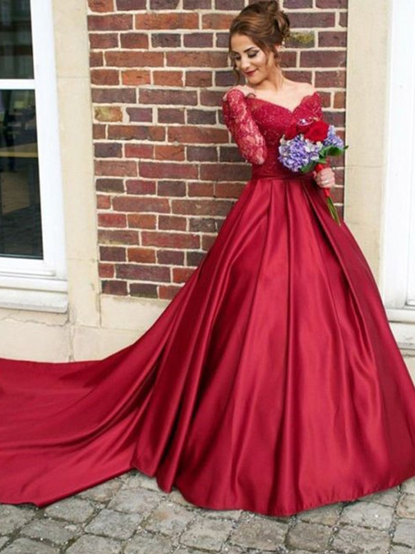 Burgundy Satin V-neck A-Line/Princess Sweep/Brush Train Dresses